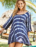 Plus Size Callie Tie Dye Long Ripped Sleeve Tunic