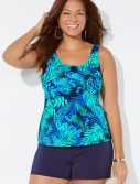 Plus Size Caribbean Classic Tankini with Navy Banded Short