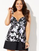 Plus Size Casablanca Flyaway Underwire Tankini with Slit Skirt