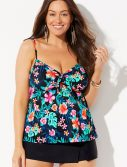 Plus Size Catamaran Tie Front Underwire Tankini with Skort