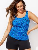 Plus Size Cerulean Classic Tankini with Loose Short