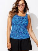 Plus Size Cerulean Classic Tankini with Skirt