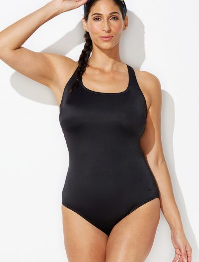 Plus Size Chlorine Resistant Black X-Back One Piece Swimsuit