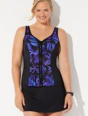 Plus Size Chlorine Resistant Catch Sweetheart Zip Front Tankini with Skirt
