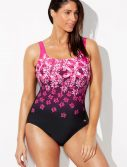 Plus Size Chlorine Resistant Exploded Pink Floral Sport One Piece Swimsuit