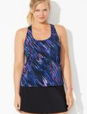 Plus Size Chlorine Resistant Galaxy Racerback Tankini with Skirt