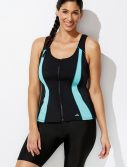 Plus Size Chlorine Resistant Lycra Xtra Life Mint Zip Vest Tankini with Bike Short