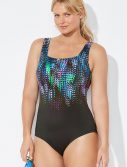 Plus Size Chlorine Resistant Lycra Xtra Life Shadow Square Neck One Piece Swimsuit