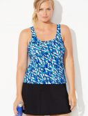 Plus Size Chlorine Resistant Oceanic Sport Tankini with Skirt