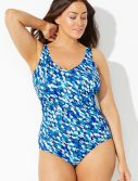 Plus Size Chlorine Resistant Oceanic V-Neck One Piece Swimsuit