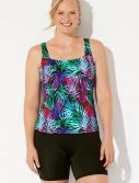 Plus Size Chlorine Resistant Paradise Square Neck Tankini with Bike Short
