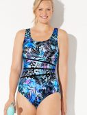 Plus Size Chlorine Resistant Splash Spliced Sport One Piece Swimsuit