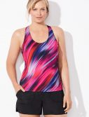 Plus Size Chlorine Resistant Swish Racerback Tankini with Cargo Short