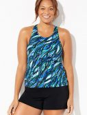 Plus Size Chlorine Resistant Waterworks Princess Seam Tankini with Banded Short