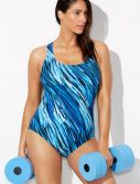 Plus Size Chlorine Resistant Whirlpool X-Back One Piece Swimsuit