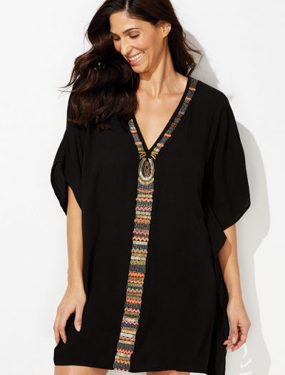 Plus Size Cleo Black V-Neck Poncho