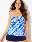 Plus Size Cloudbreak Tie Front Underwire Tankini with Banded Short