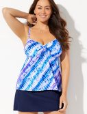 Plus Size Cloudbreak Tie Front Underwire Tankini with Slit Skirt