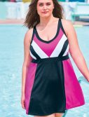 Plus Size Colorblock Swimdress