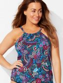 Plus Size Cortland High Neck Tankini Top