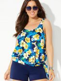 Plus Size Daffodil Side Tie Blouson Tankini with Navy Banded Short