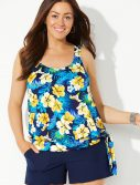 Plus Size Daffodil Side Tie Blouson Tankini with Navy Cargo Short