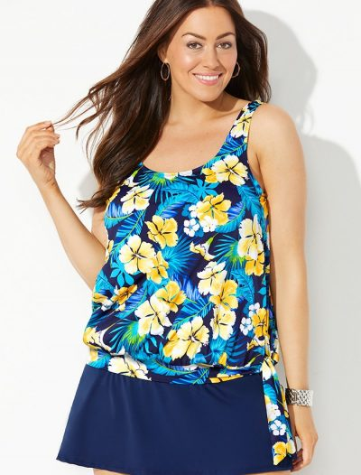 Plus Size Daffodil Side Tie Blouson Tankini with Navy Skirt