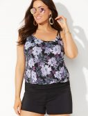 Plus Size Dahlia Loop Strap Blouson Tankini with Banded Short