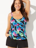 Plus Size Daintree Flared Tankini with Cargo Short