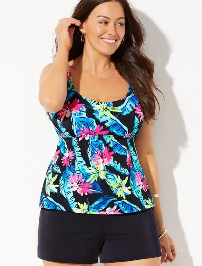 Plus Size Daintree Flared Tankini with Loose Short