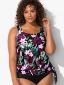 Plus Size Derby Side Tie Blouson Tankini Top