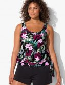 Plus Size Derby Side Tie Blouson Tankini with Loose Short