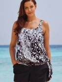 Plus Size Dew Drops Side Tie Blouson Tankini with Cargo Short
