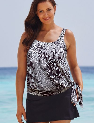 Plus Size Dew Drops Side Tie Blouson Tankini with Skirt