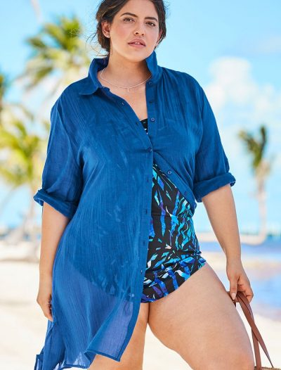 Plus Size Dream Blue Button Up Shirt