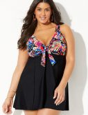 Plus Size Equinox Tie Front V-Neck Swimdress