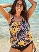 Plus Size Everlasting Floral Side Tie Blouson Tankini Top