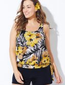 Plus Size Everlasting Floral Side Tie Blouson Tankini with Loose Short