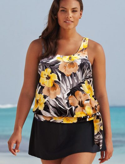 Plus Size Everlasting Floral Side Tie Blouson Tankini with Skirt