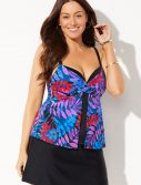 Plus Size Flora Faux Flyaway Underwire Tankini with Slit Skirt