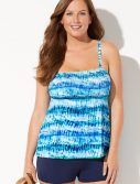 Plus Size Harmony Smocked Bandeau Tankini with Boy Short