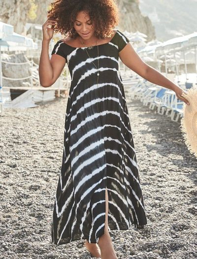 Plus Size Harper Tie Dye Off The Shoulder Maxi Dress