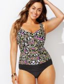 Plus Size Honeydew Ruched Twist Front Tankini