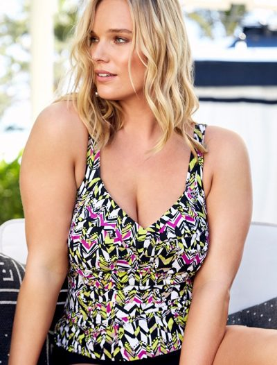 Plus Size Honeydew Ruched Twist Front Tankini Top