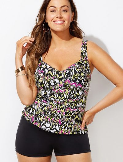 Plus Size Honeydew Ruched Twist Front Tankini with Boy Short