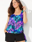 Plus Size Kauai Side Tie Blouson Tankini with Cargo Short