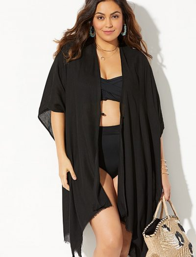 Plus Size Kayla Black Open Front Top