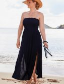 Plus Size Kelly Black Side Slit Maxi Dress