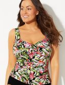 Plus Size Key West Ruched Twist Front Tankini Top