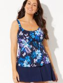 Plus Size Lagoon Flared Tankini with Skirt